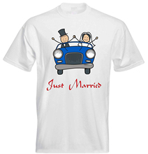 Just Married Classic Vintage Blue Car Bride Groom Wedding Couple Mens T Shirt - White Tee Retro