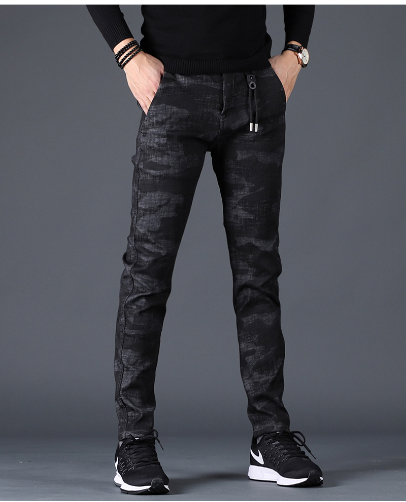 Free shipping new fashion men's male casual Original camouflage jeans men plus velvet autumn stitching pants Slim Korean C3129 88