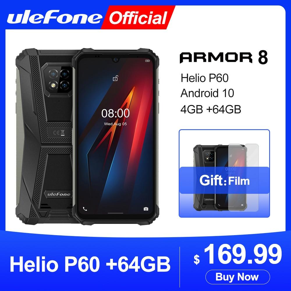 Ulefone armadura 8 android 10 áspero telefone móvel helio p60 4gb + 64gb octa-core 2.4g/5g wifi 6.1 polegadas à prova dwaterproof água smartphone