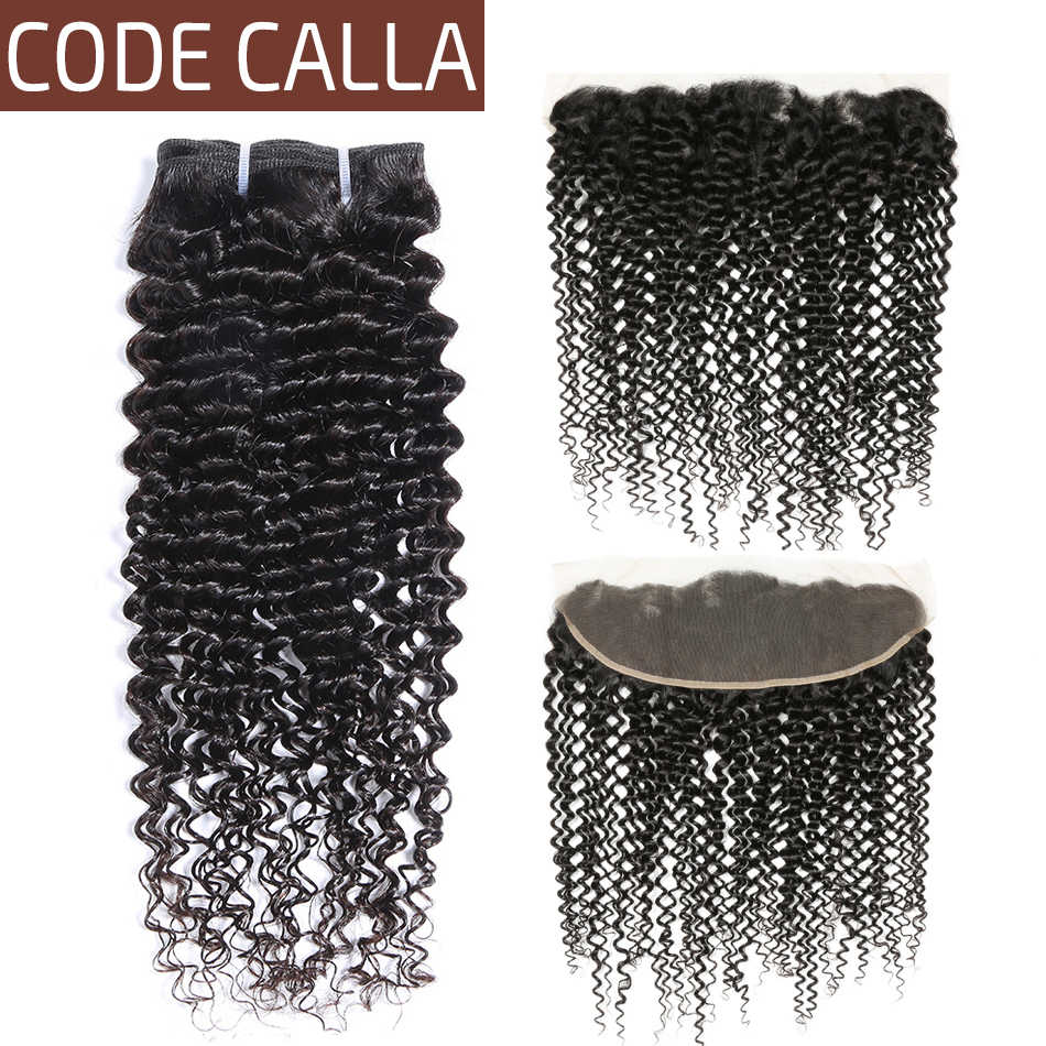 Code Calla Jerry Curly Hair Bundles With Lace Frontal 100% Brazilian Remy Human Hair Weaving Natural Black Color For Women