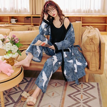 Женская пижама из трех предметов на весну, осень и лето, сексуальная Свободная Домашняя одежда из чистого хлопка с подтяжками, до 100 кг