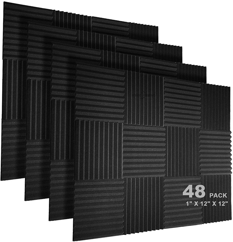 """48 painéis de espuma acústica bloco 1 """"x 12"""" x 12 """"estúdio isolamento acústico cunha à prova de som estofamento acústico tratamento espuma vedação tira"""