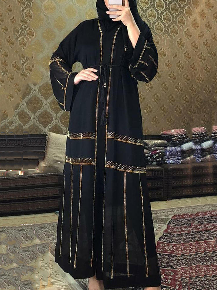 Islamic Clothing Kimono Dress Turkey Djellaba Musulmane Muslim-Hijab Dubai Black Abaya