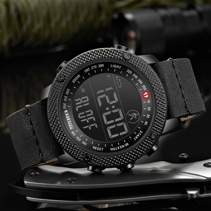 KADEMAN TOP Brand Men Watch Creative Step Counter Digital Sport Wristwatches Waterproof Military Army Fashion Male Leather Clock