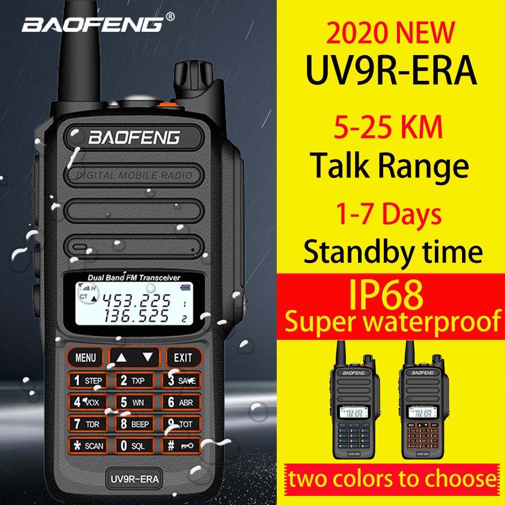 Baofeng IP68 waterproof walkie talkie long range 25km baofeng uv-9r ERA plus cb ham radio hf transceiver UHF VHF radio station image