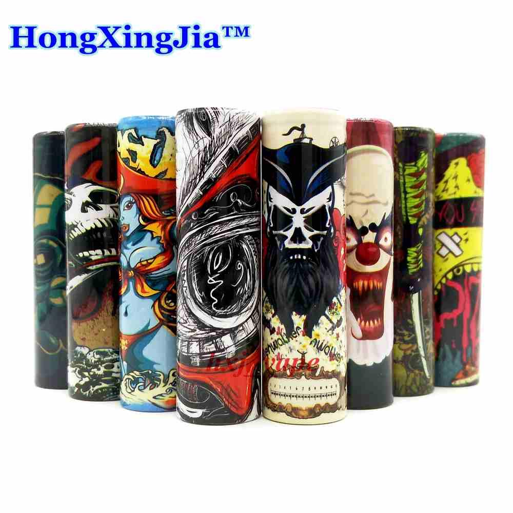 Hongxingjia 5pcs Pack Wrap 18650 Battery Sticker Skin Sleeve PVC Heat Shrinkable Tube Vape Mod Cover Protection Insulators Pack