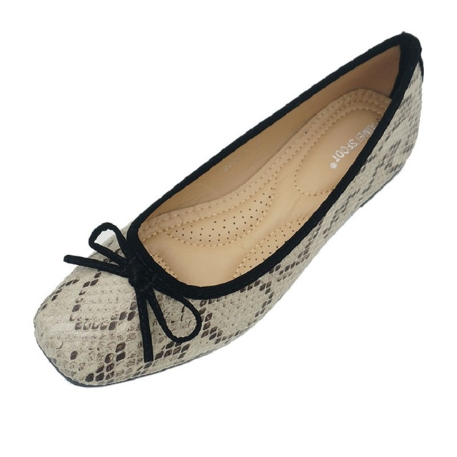 Snake Flat Shoes Women Leather Ballerinas Round Toe Bowtie Slip On Ballet Flats Maternity Loafers Moccasins Ladies Casual Flats
