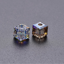 1pcs DIY Square AB White Austrian Crystal Sugar Glass Cube 6mm Pendant Prism  Diamond Necklace Beaded Gift Without Chain
