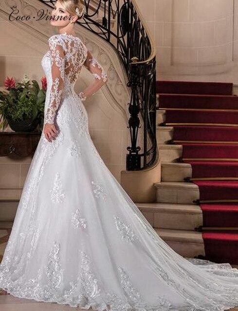 Sexy Illusion Back Long sleeve Lace Mermaid Wedding Dress 2021 Europe New Pearls Beading Appliques White Wedding Dresses W0149 3