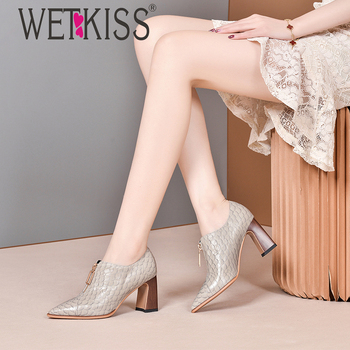 wetkiss Fish Scale Leather Shoes High Heels Pointed Toe Wood Heels Paint Women Shoes Gold Zipper Casual Women Shoes