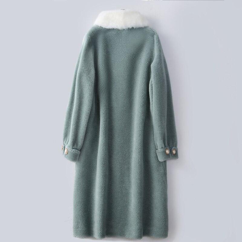 Real Fur Coat Female Winter Natural Mink Fur Collar Jacket Women Clothes 2020 Korean Sheep Shearing 100% Wool Tops Hiver SD5586
