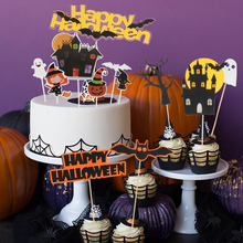 Cyuan Halloween Horror Cake Toppers Cupcake Pumpkin bat ghost witch castle cat Flags Decoration Baking Supplies