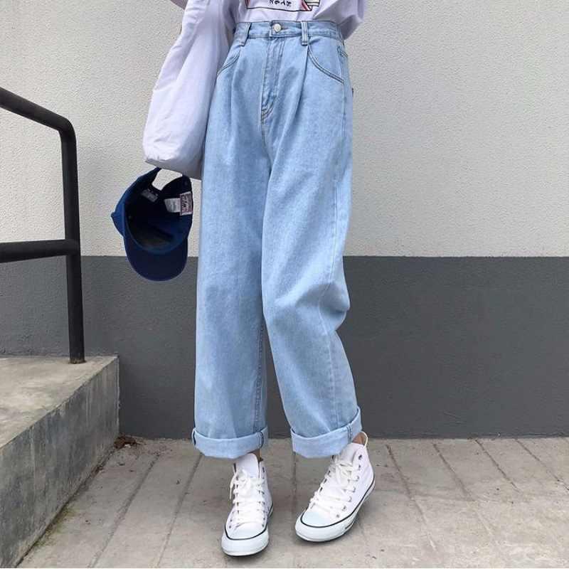 Pantalones Flojos Rectos De Mezclilla A La Moda Para Mujer Vaqueros A La Altura Del Tobillo De Cintura Elastica Informales Combina Con Todo Azul Y Negro Xa100f Pantalones Vaqueros Aliexpress