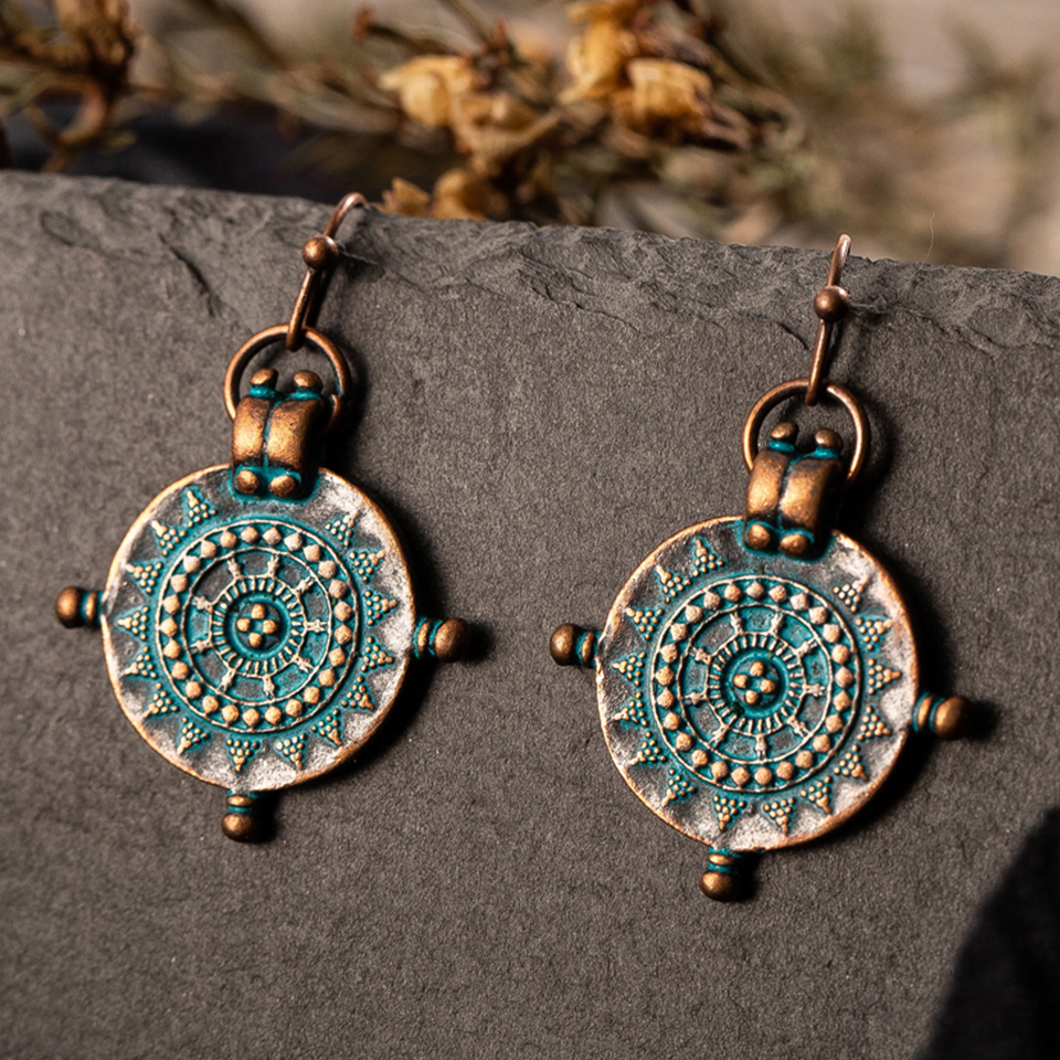 Vintage India Ethnic Engraved Dangle Drop Earrings Hanging For Women 2018 Fashion Jewelry Accessories Wedding Party Ornaments