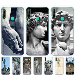 На Алиэкспресс купить чехол для смартфона silicon phone cover case for huawei p40 lite e p40 pro cover for huawei y7p y5p y6s y9s nova 5t coque statue michelangelo-david