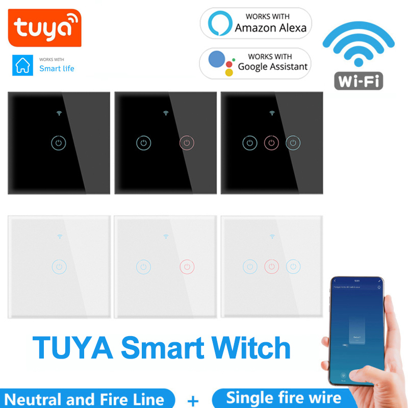 Tuya Wifi Smart Touch 1 2 3 Gang Switch 110 250v Home Wall Button Smart House Eu Switch Work With Alexa And Google Home Big Promo 00209 Cicig