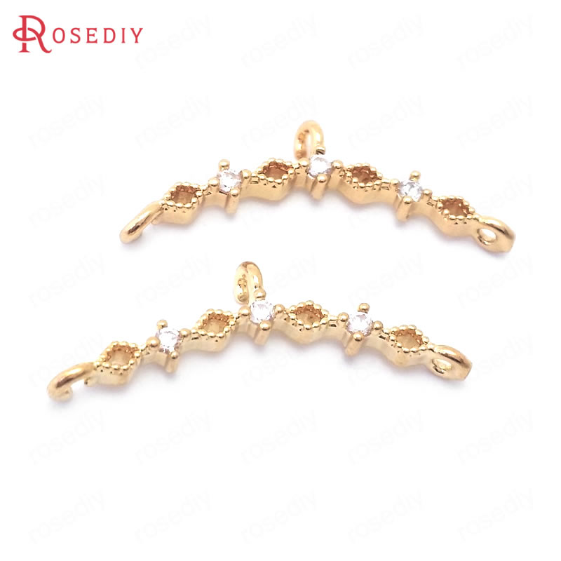 (38854)10PCS 8x23MM 24K Champagne Gold Color Brass and Zircon Curve Shape Charms Pendants Connector Jewelry Making Diy Findings