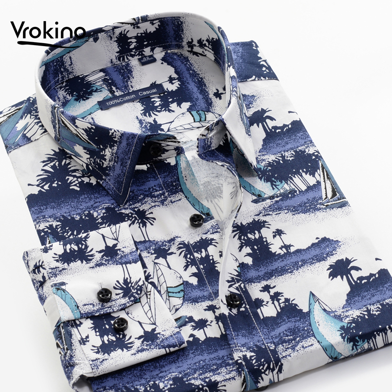 Large Size 7XL 8XL 9XL 10XL Men's Fall 100% Cotton Print Shirt Classic Fashion Men's Flower Print Long-sleeved Shir