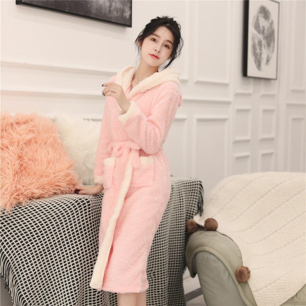 Casual Soft Women Intimate Kimono Robe Gown Winter Keep Warm Coral Velvet Sleepwear Cute Cartoon Hooded Bath Gown Nightdress