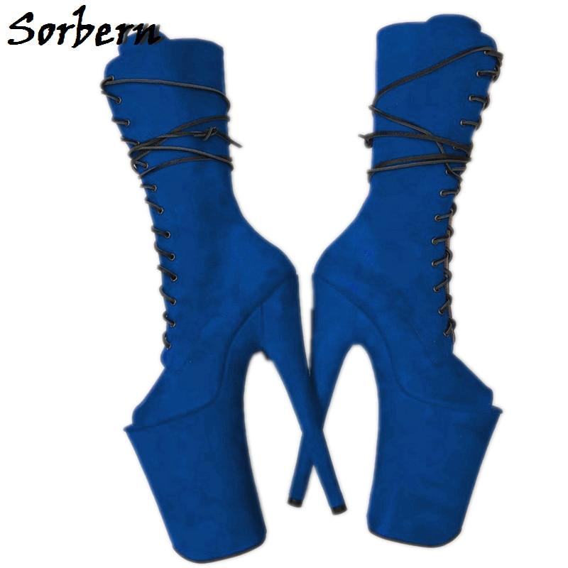 Mid Calf Women รองเท้า Lace Up Pole Dance รองเท้าผู้หญิงรองเท้าส้นสูงเกย์รองเท้าลาก Queen Booty ที่กำหนดเองสี-ใน รองเท้าบู๊ทครึ่งน่อง จาก รองเท้า บน   1