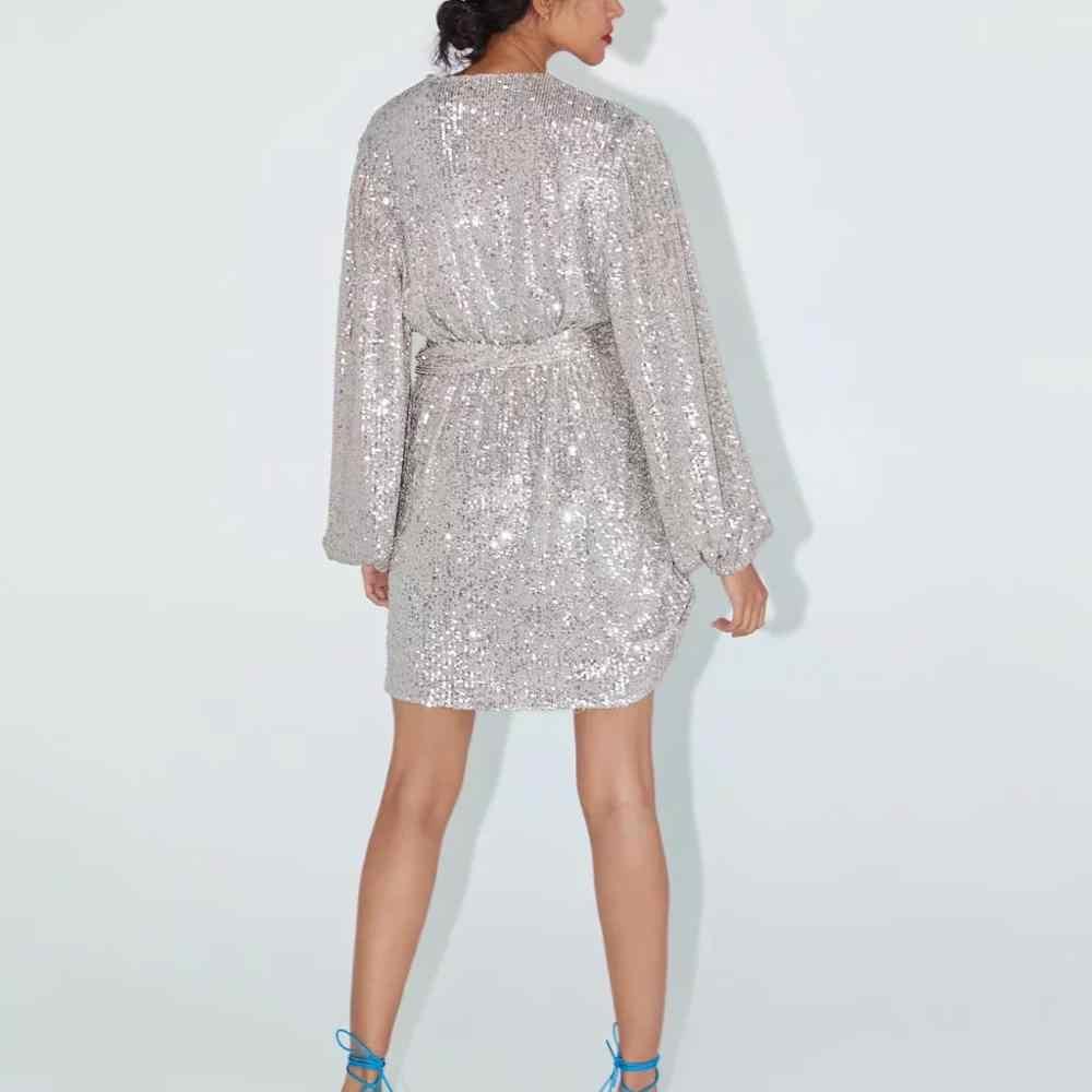 ZA femmes robe 2019 blanc argent sequin ceintures col en v chic dames mince élégant mini club soirée robe de soirée robes de femme