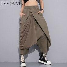 TVVOVVIN, новинка весны, высокая эластичная талия, черные, складные, с повязкой, стежки, свободные, длинные, с крестиком, женские брюки, модные, свободные, V410