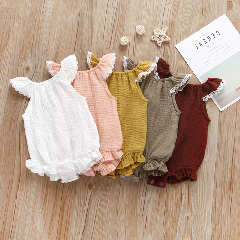 Newborn Baby Girls Ruffle Sleeve   Romper   Cotton Linen Solid Jumpsuit Classical Summer Outfits baby girl clothes costume