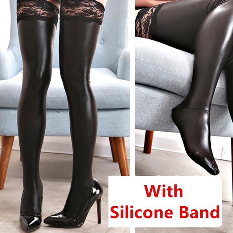 Кружевные силиконовые сексуальные латексные чулки, женские черные чулки до бедра из искусственной кожи, женские длинные чулки размера плюс...
