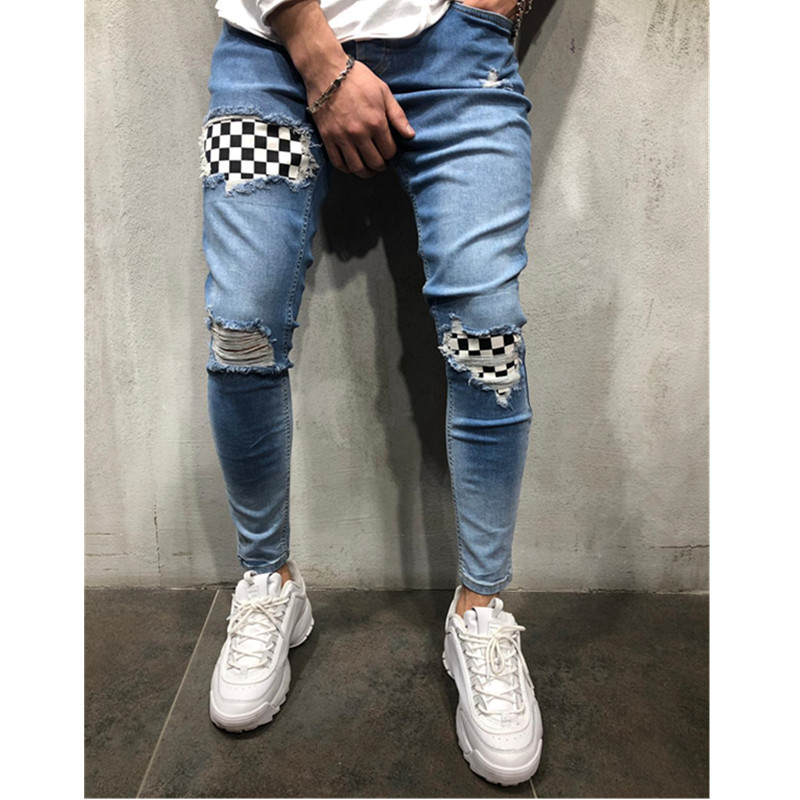 2020 Spring Fashion  Ripped  Jeans Pencil Pants Printing Denim Slim Elasticity Skinny Pants Pure Color Man Jeans