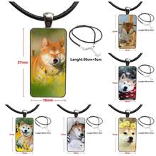 Shiba Inu Funny Dog For Girls Wholesale Glass Cabochon Jewelry Steel Color With Long Pendant Choker Rectangle Necklace(China)
