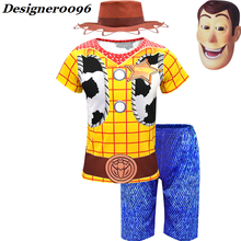 Movie Toy Story 4 Sherif Woody Cosplay Costume Mask+Hat+T-Shirt+Pants Halloween from Kids