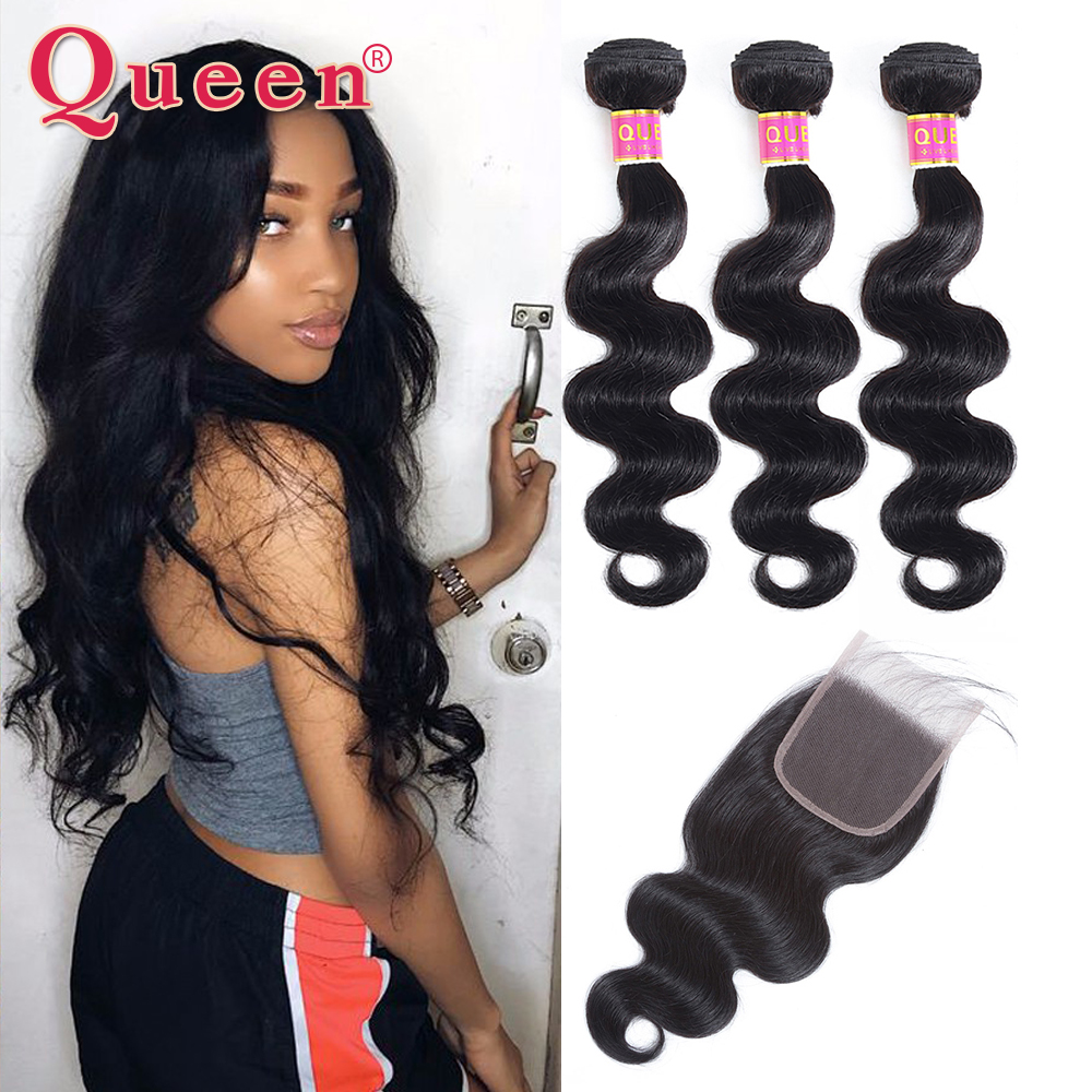Queen Hair Products Brazilian Body Wave Hair Weave Bundles With Closure Brazilian Remy Hair Human Hair Bundles With Closure