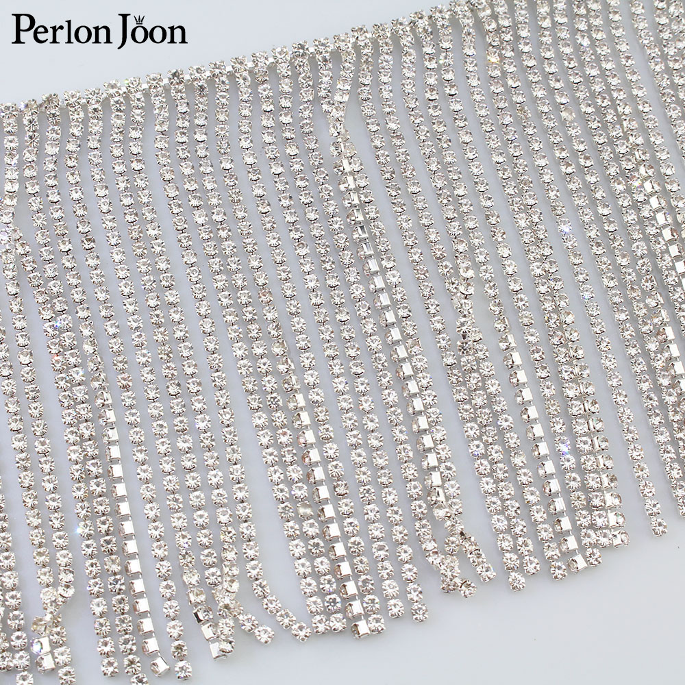 1 yard Long tassel crystal rhinestone fringe trim Silver crystal decorative metal chain clothing accessories ML074