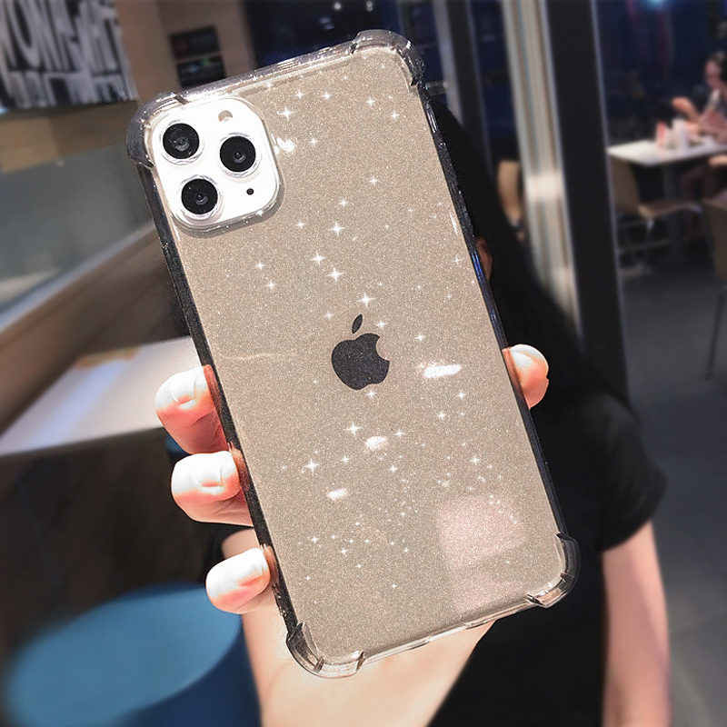 Lovebay آيفون 11 جراب هاتف بريق للصدمات آيفون 7 8 6 6s زائد 11 برو X XR XS ماكس شفاف لينة غطاء خلفي من البولي يوريثان