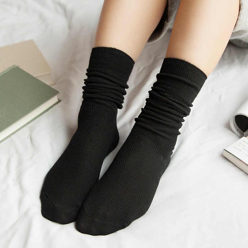جوارب عالية الجودة للفتيات في المدارس الثانوية بكوريا اليابانية جوارب فضفاضة ملونة صلبة إبر مزدوجة حياكة جوارب قطنية طويلة للنساء