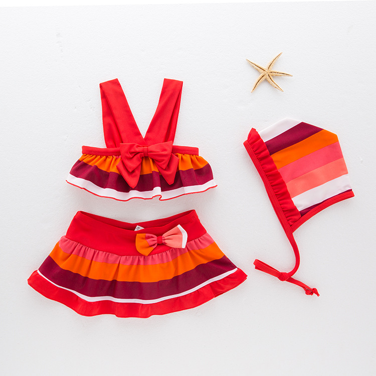 Girls' Two-piece Swimsuit Color Stripes-Tour Bathing Suit Children Hot Springs Clothing