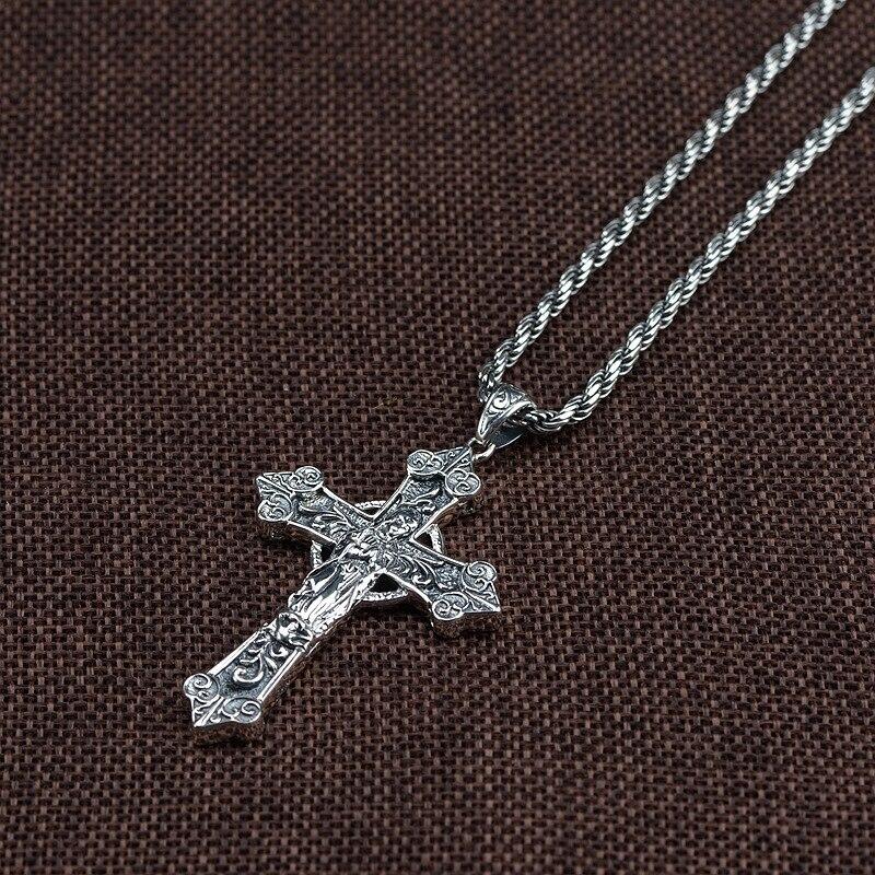 925 argent Sterling croix catholique pendentif vierge marie hommes femmes avec pierre de grenat naturel rétro Punk bijoux religieux - 4