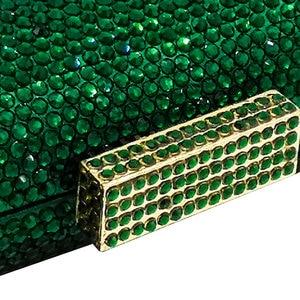 Image 3 - Boutique De FGG Elegant Green Emerald Crystal Women Evening Handbags Metal Hard Case Wedding Party Dinner Diamond Clutch Bag