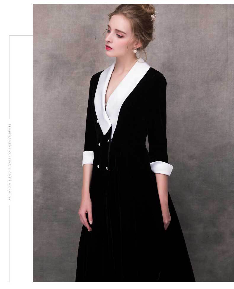 Black temperament night club dress female new banquet high quality ladies noble formal dress annual meeting host dress F1130