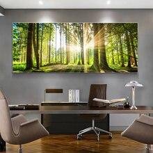 Moderno tamanho grande pintura da lona natural árvore verde floresta pôr do sol paisagem cartazes e impressões arte da parede imagem para sala de estar