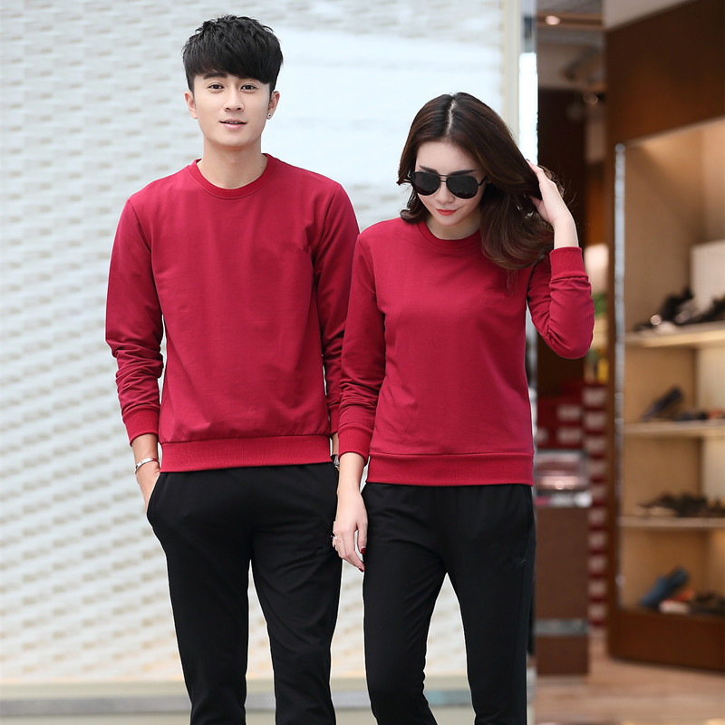 Autumn & Winter Outdoor Sports Crew Neck Long Sleeve Fashion Slim Fit Men And Women Couples Two-Piece Set Sportswear