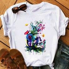 Женская одежда 2020 футболка с цветочным принтом черепом скелетом