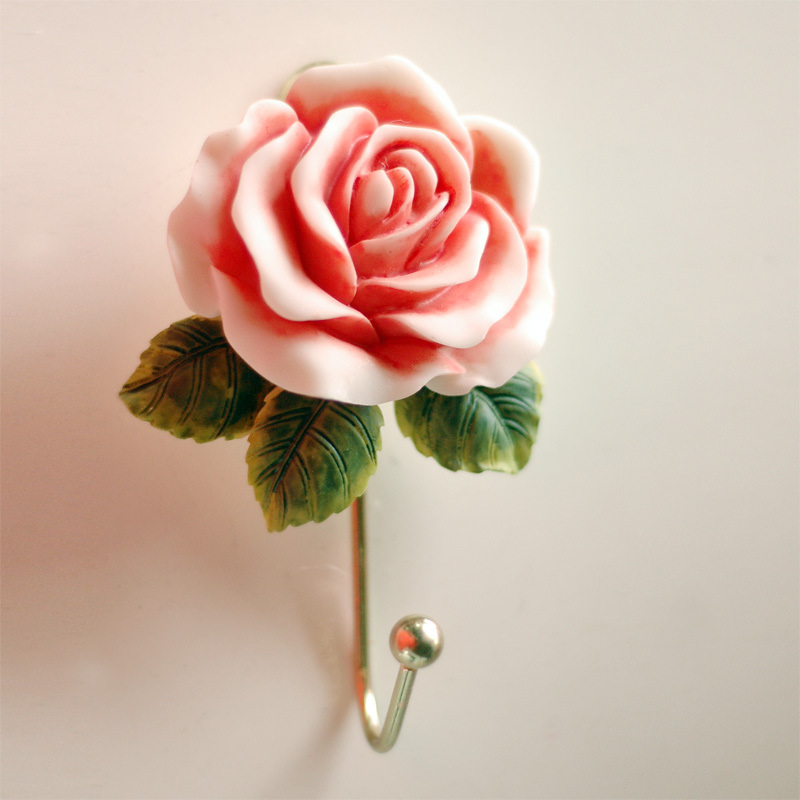 Wall Mounted Vintage Dress European Pastoral Rose Cameo Hat Coat Resin Hook Door Clothes Hanger Bathroom Towel