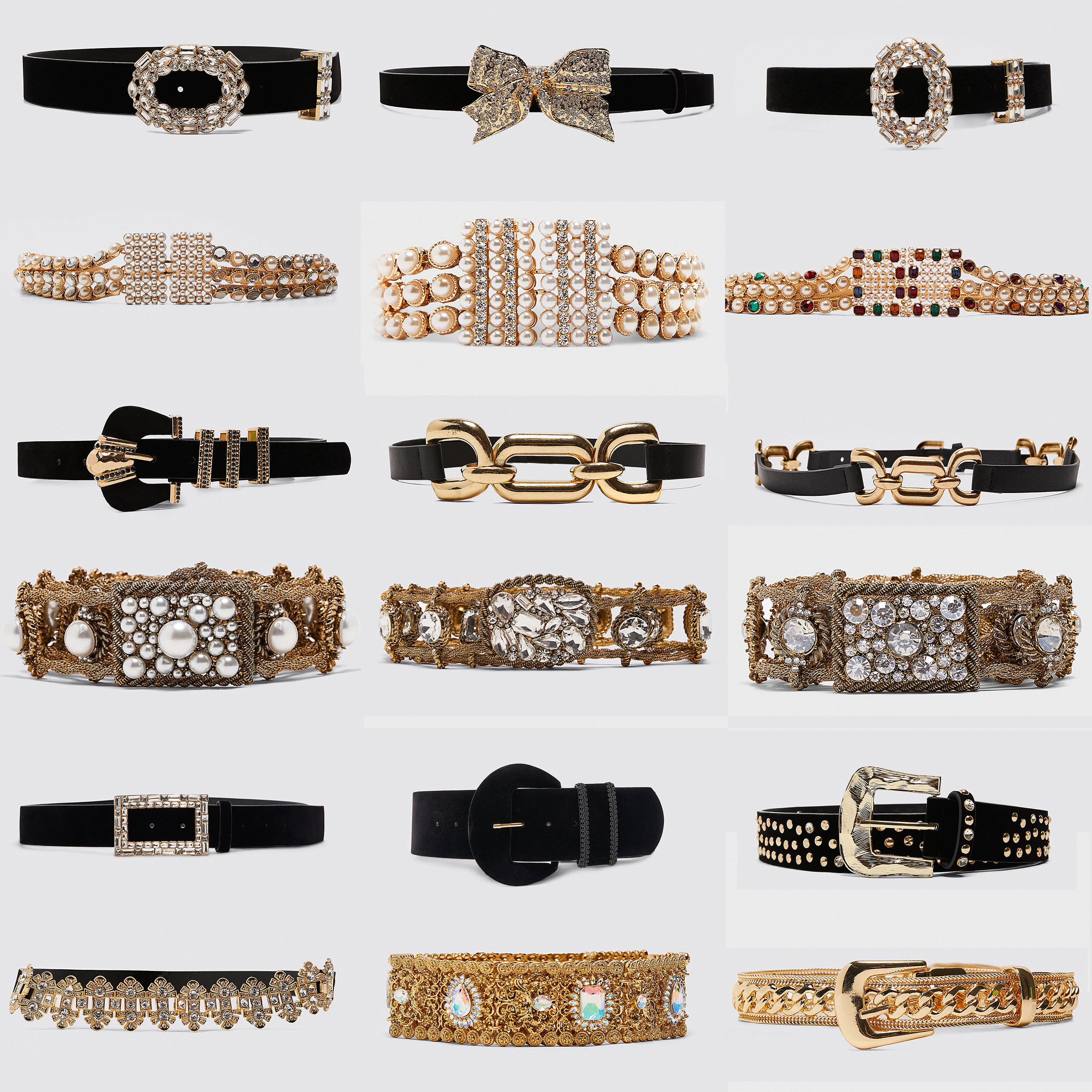Miwens Newest Za Metal Sparkly Bow Belt For Women Luxury Pearl Belly Chains Elegant Crystal Stone Leather Waist Belts Jewelry