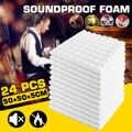 24PCS 50x50x5cm סטודיו אקוסטית לרעש קצף קליטת קול טיפול פנל אריח מגן ספוג