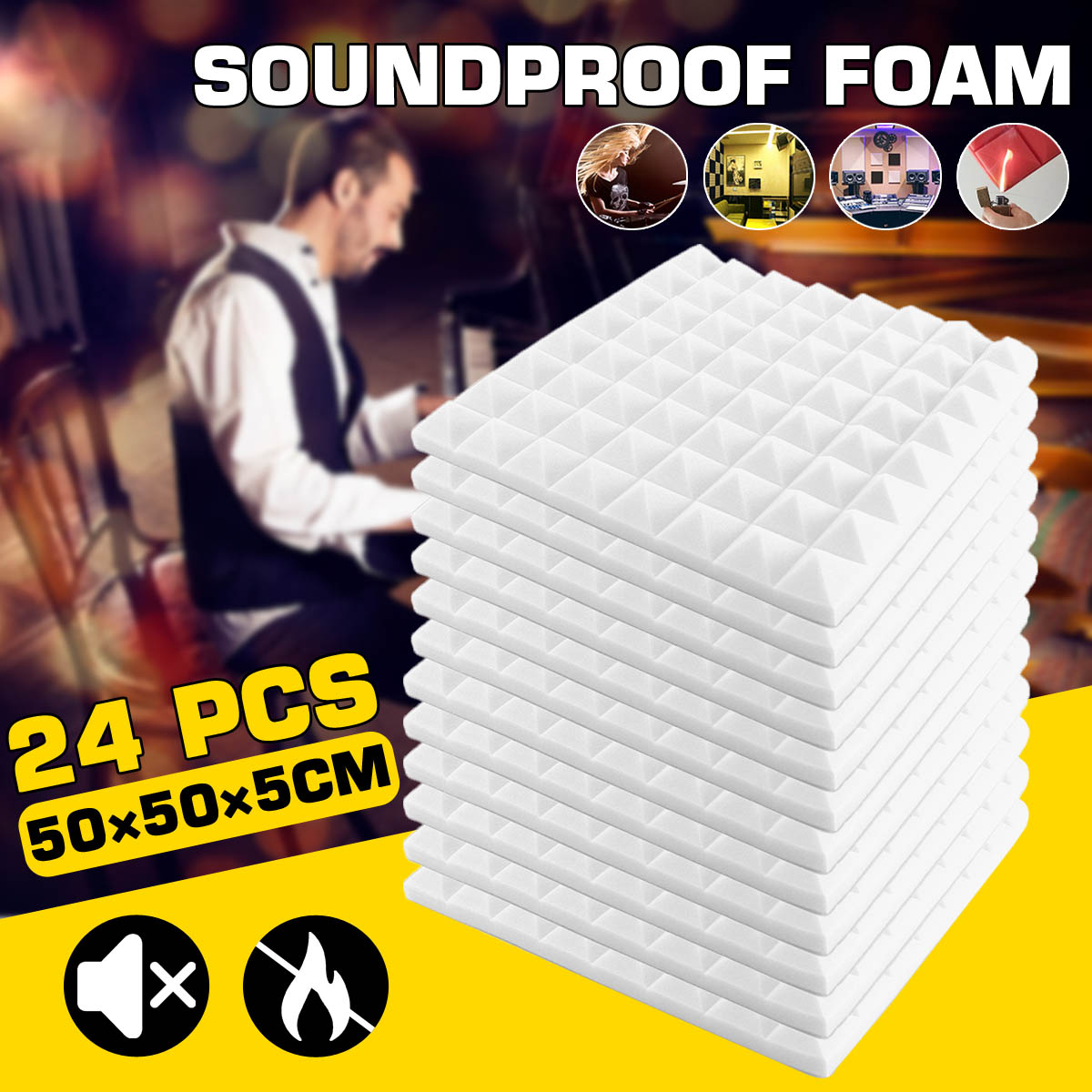 24PCS 50x50x5cm Studio Acoustic Soundproof Foam Sound Absorption Treatment Panel Tile Protective Sponge