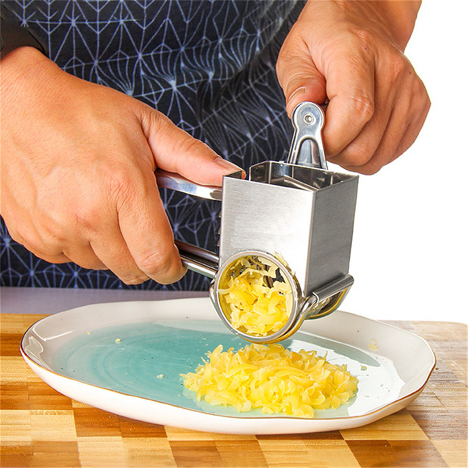 TTLIFE <font><b>Rotary</b></font> <font><b>Cheese</b></font> <font><b>Grater</b></font> Shredder <font><b>Stainless</b></font> <font><b>Steel</b></font> Cutter Grinder with 3 Drum Blade <font><b>Cheese</b></font> Tools Kitchen Gadgets image
