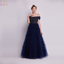 Navy Blue Off The Shoulder Women Prom Dresses 2019 New Boat Neck Formal Party Long Gowns Elegant Beaded Crystal vestidos de gala