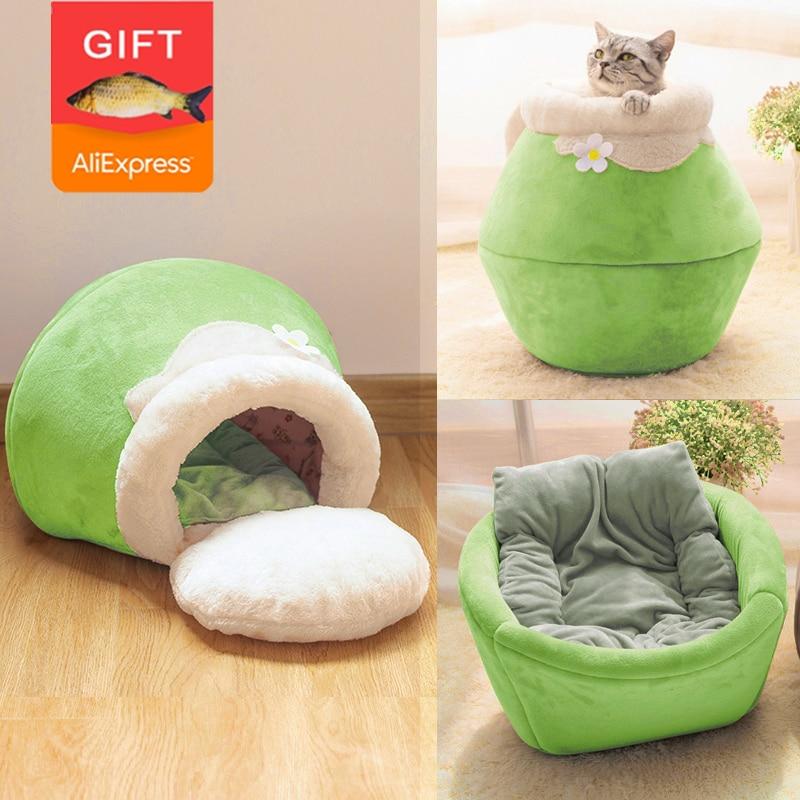 Зимняя теплая кровать для кошки, плюшевая мягкая Портативная Складная Милая домик для кошки, пещера, спальный мешок, подушка, утолщенная кро...