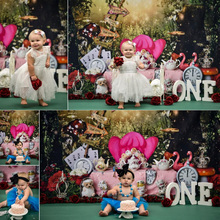 Fairy Tale Princess One Birthday Cake Smash Backdrop Alice Wonderland Tea Party Background Photography Dreamy Forest Photocall